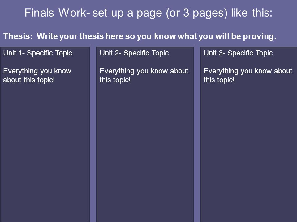 Finals Work- set up a page (or 3 pages) like this: