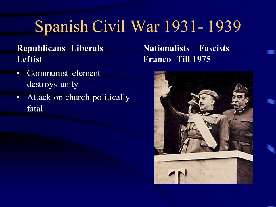 Spanish Civil War 1931- 1939 Republicans- Liberals - Leftist