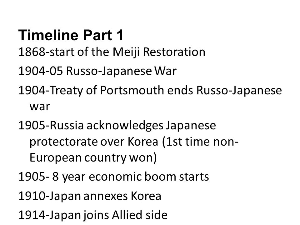Timeline Part 1 1868-start of the Meiji Restoration