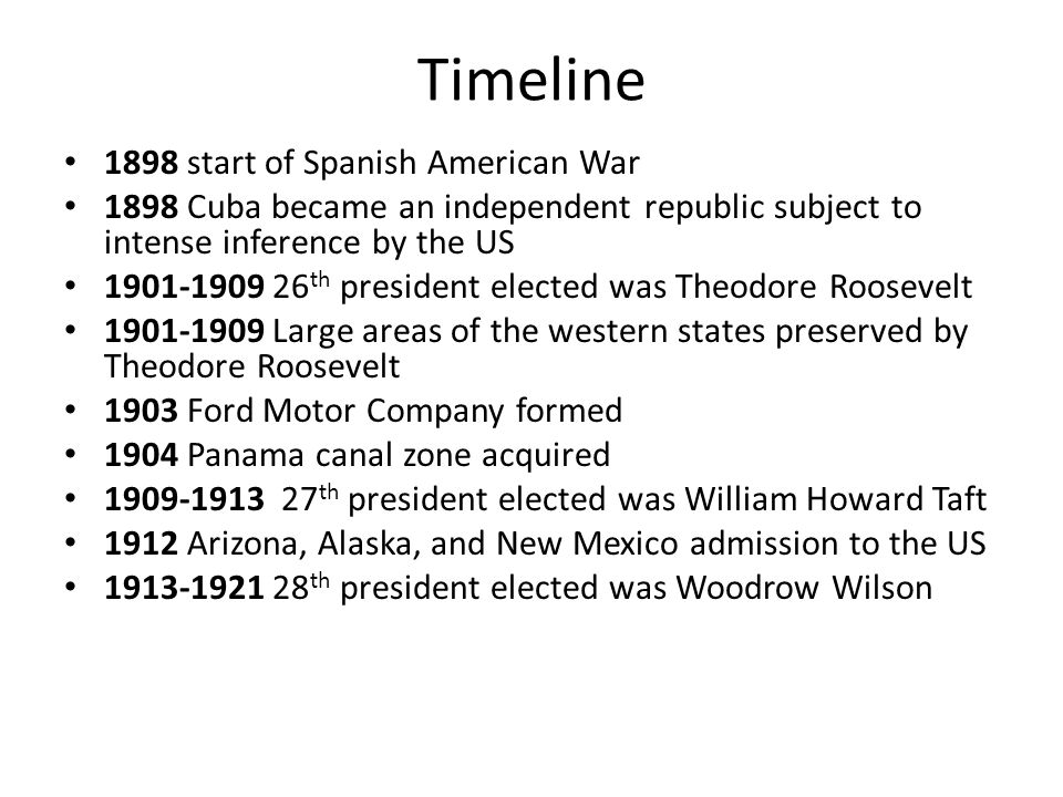 Timeline 1898 start of Spanish American War