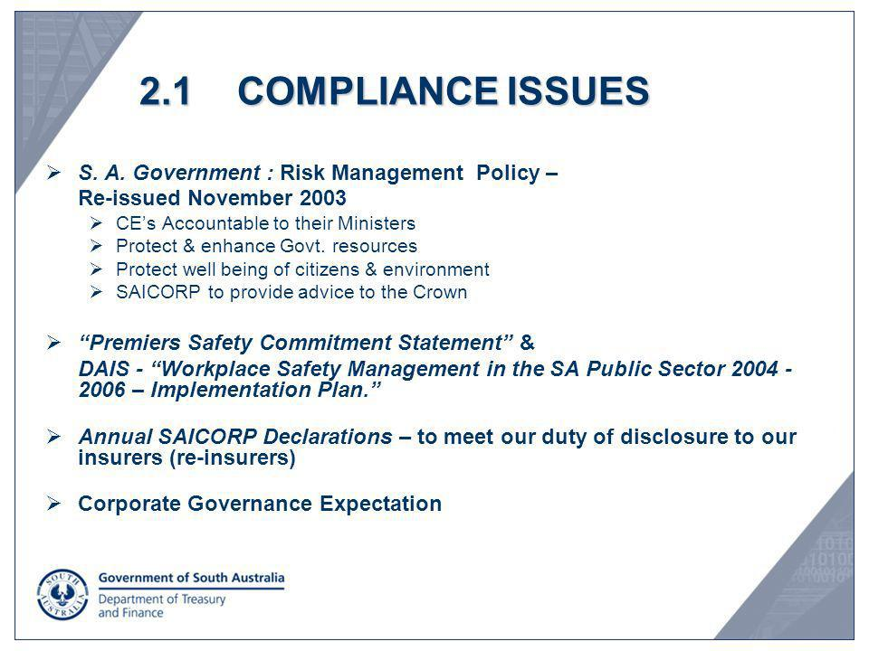 2.1 COMPLIANCE ISSUES S. A. Government : Risk Management Policy –