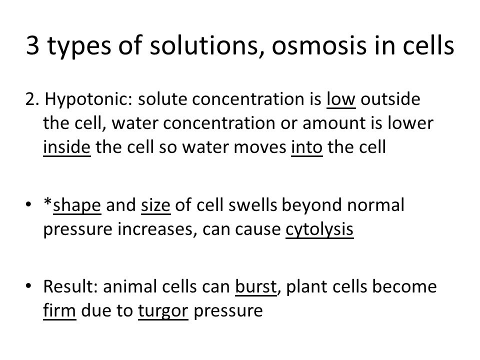 3 types of solutions, osmosis in cells