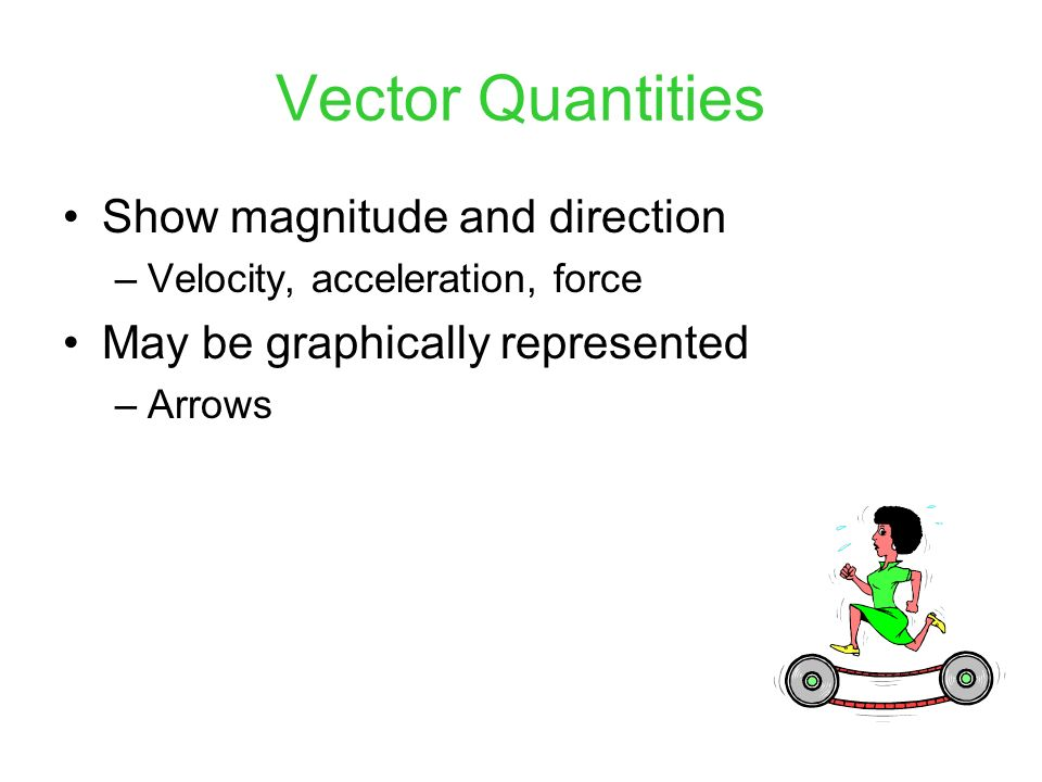 Vector Quantities Show magnitude and direction