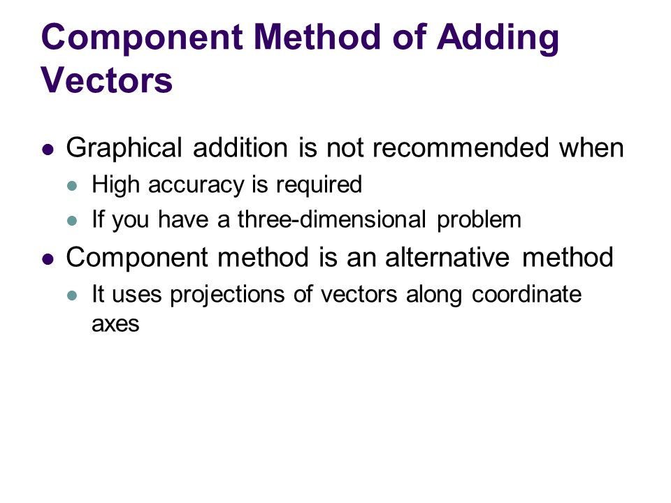 Component Method of Adding Vectors
