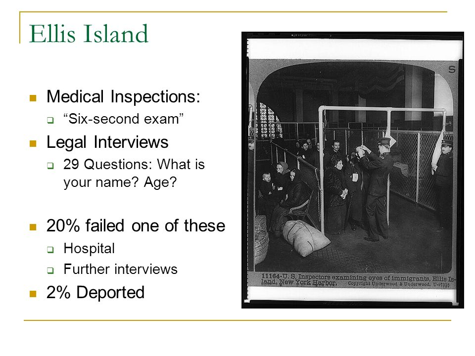 Ellis Island Medical Inspections: Legal Interviews