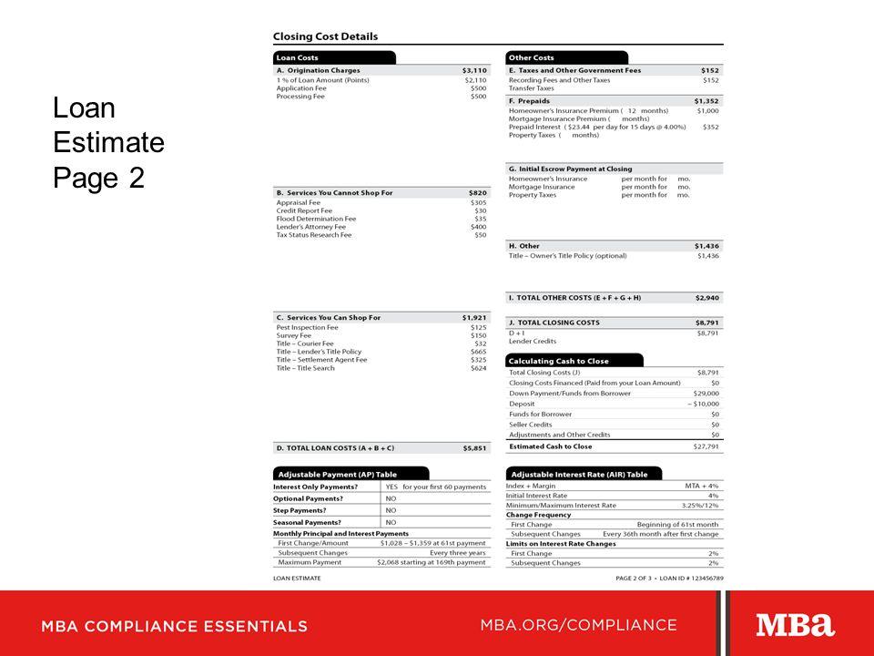 Loan Estimate Page 2 >> Mortgage Bankers Association Ppt Video Online Download