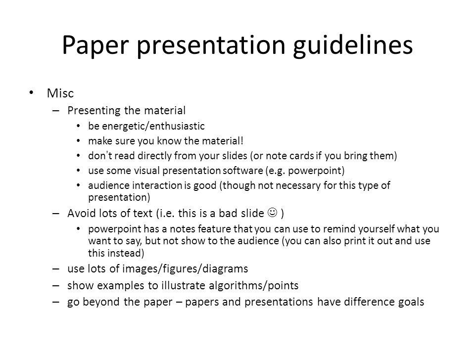 Paper presentation guidelines