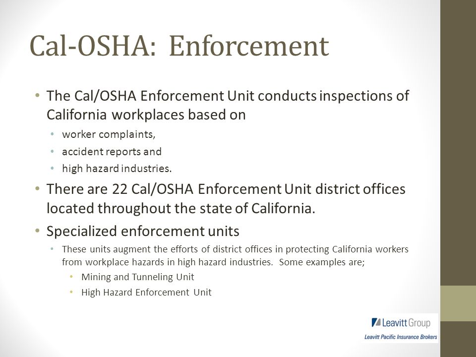 Cal-OSHA and Labor Code Understanding the Law And Its