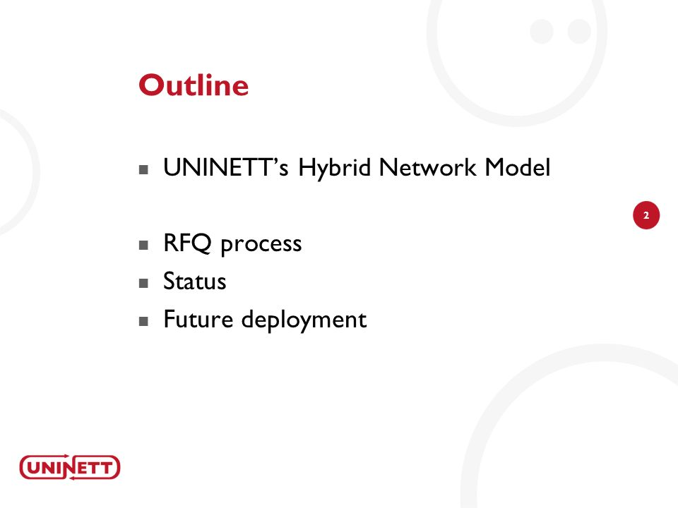 Outline UNINETT's Hybrid Network Model RFQ process Status