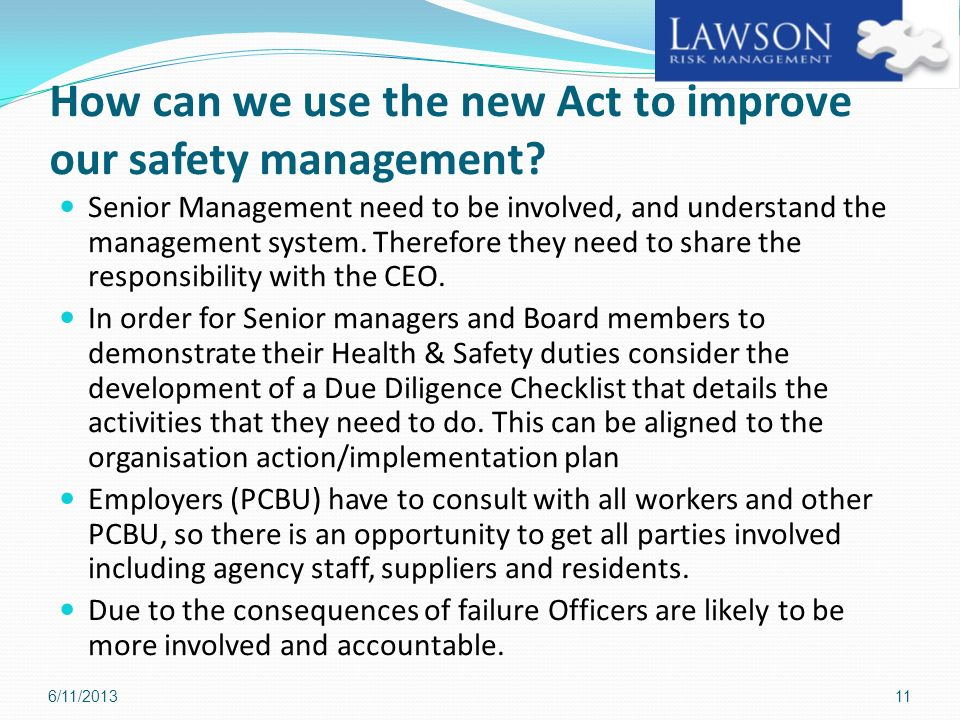 How can we use the new Act to improve our safety management