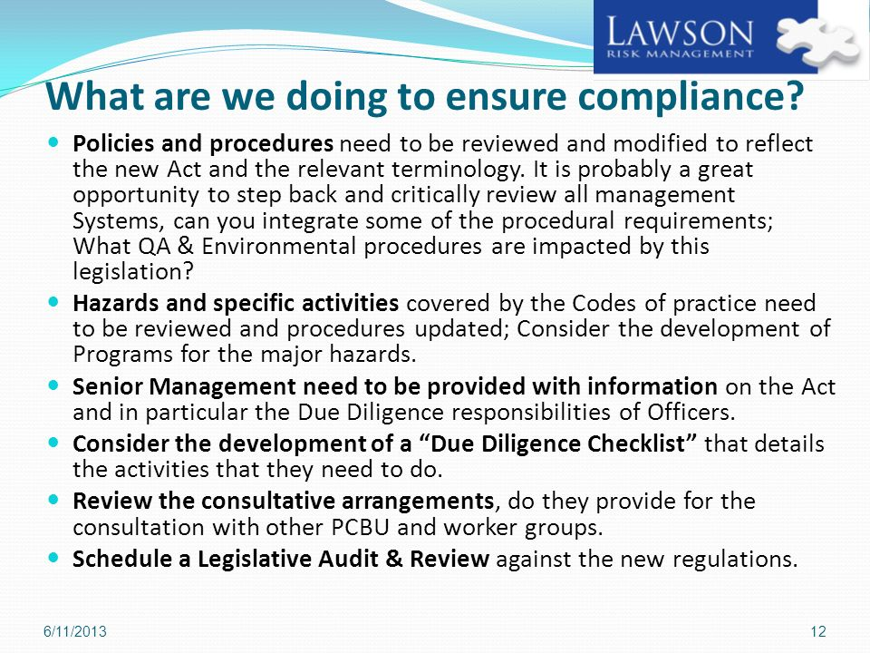 What are we doing to ensure compliance
