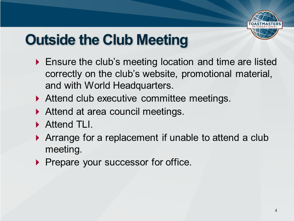Outside the Club Meeting