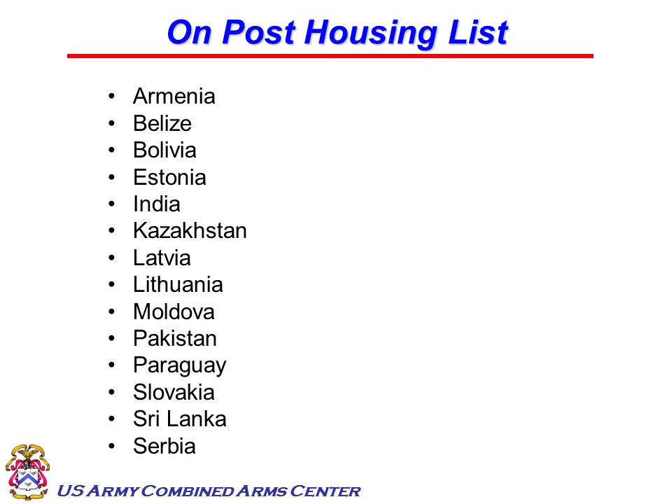 On Post Housing List Armenia Belize Bolivia Estonia India Kazakhstan