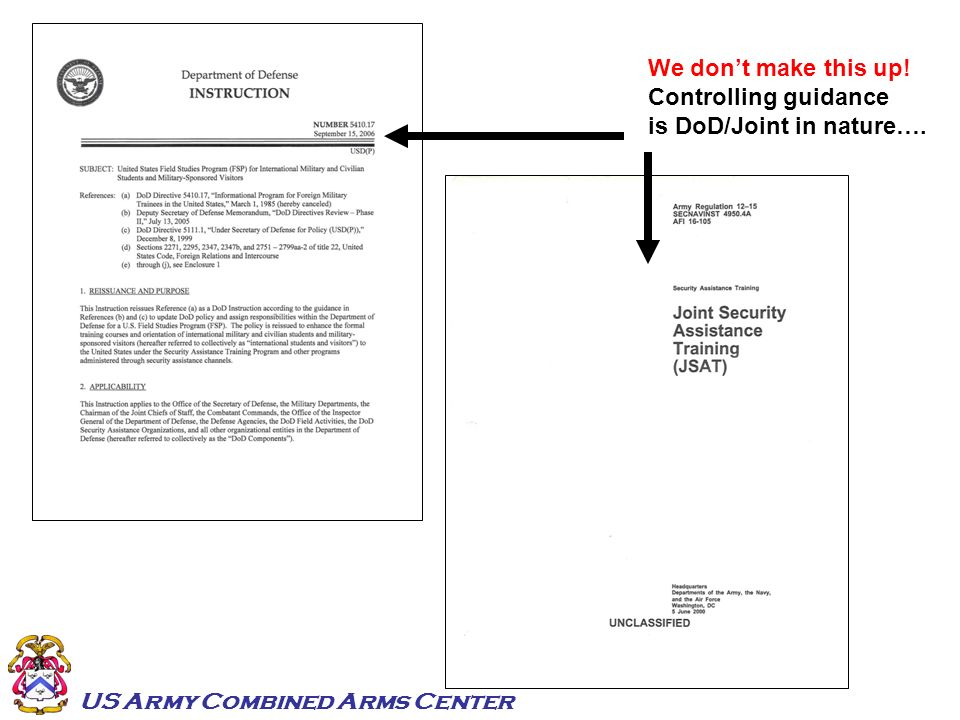 We don't make this up! Controlling guidance is DoD/Joint in nature….