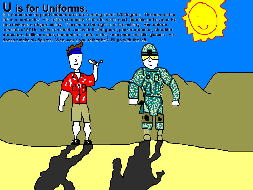 U is for Uniforms.