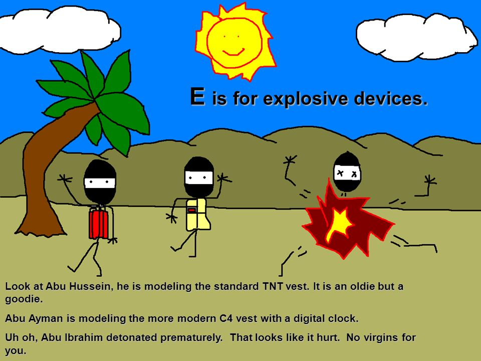 E is for explosive devices.