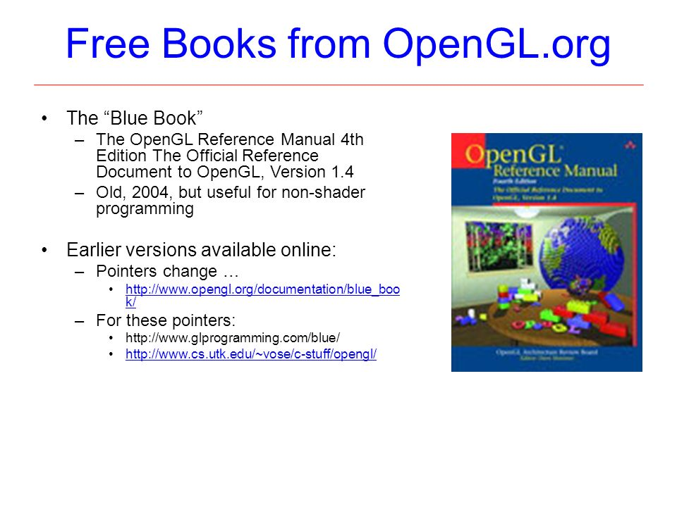 OpenGL 1 Angel: Chapter 2 OpenGL Programming and Reference Guides