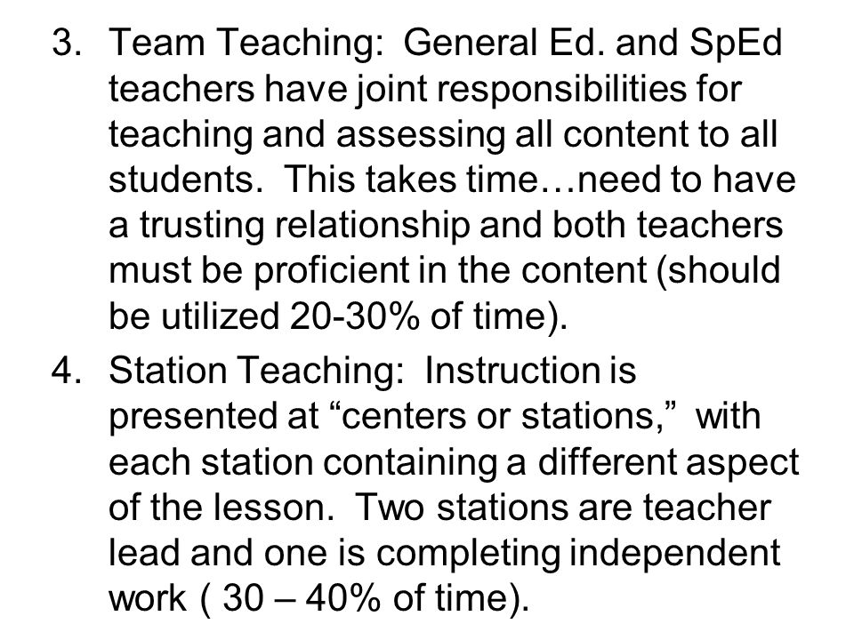 Team Teaching: General Ed