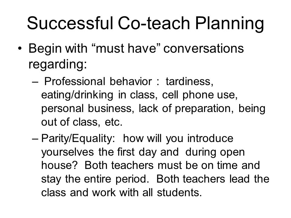Successful Co-teach Planning