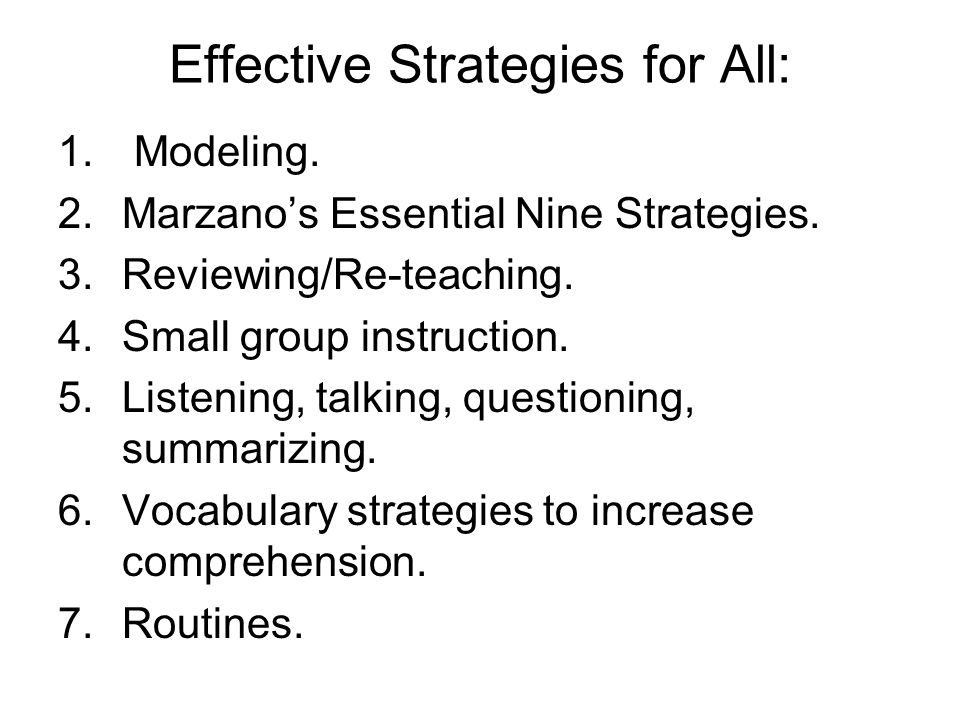 Effective Strategies for All:
