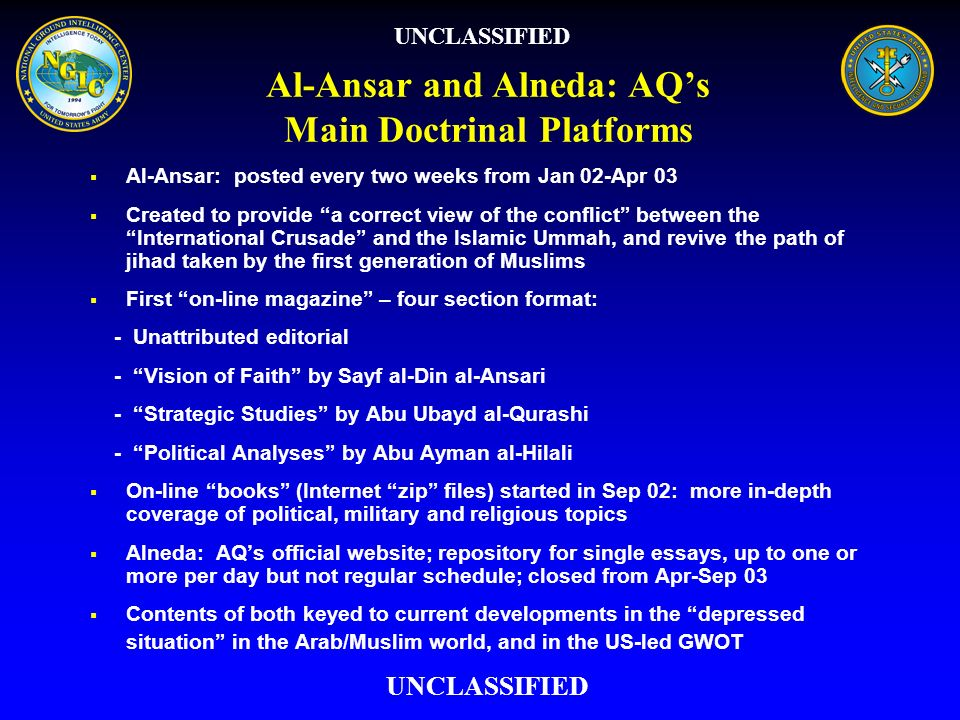 Al-Ansar and Alneda: AQ's Main Doctrinal Platforms