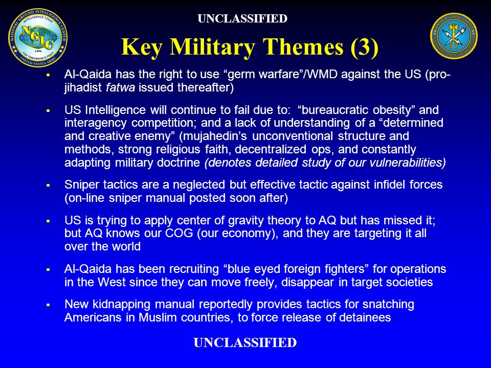 Key Military Themes (3) UNCLASSIFIED UNCLASSIFIED