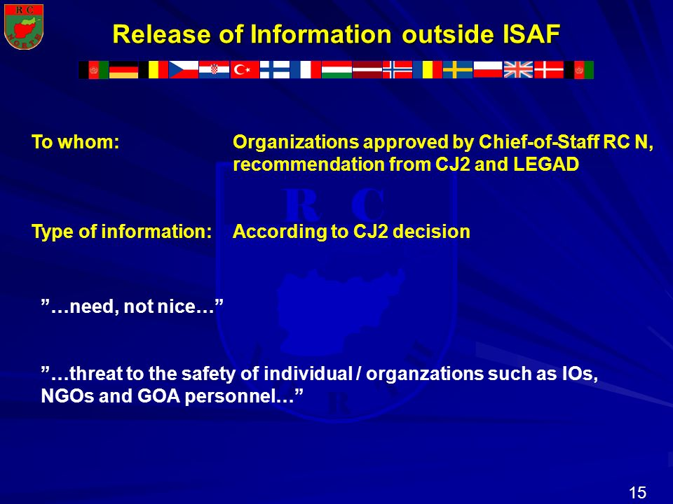 Release of Information outside ISAF