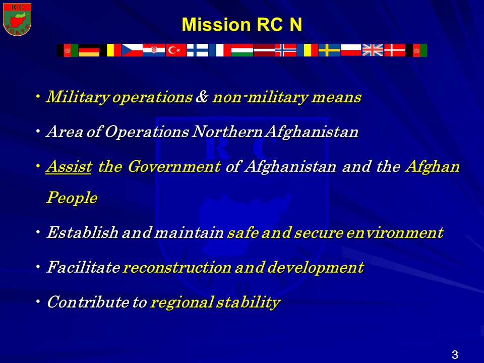 Mission RC N Military operations & non-military means