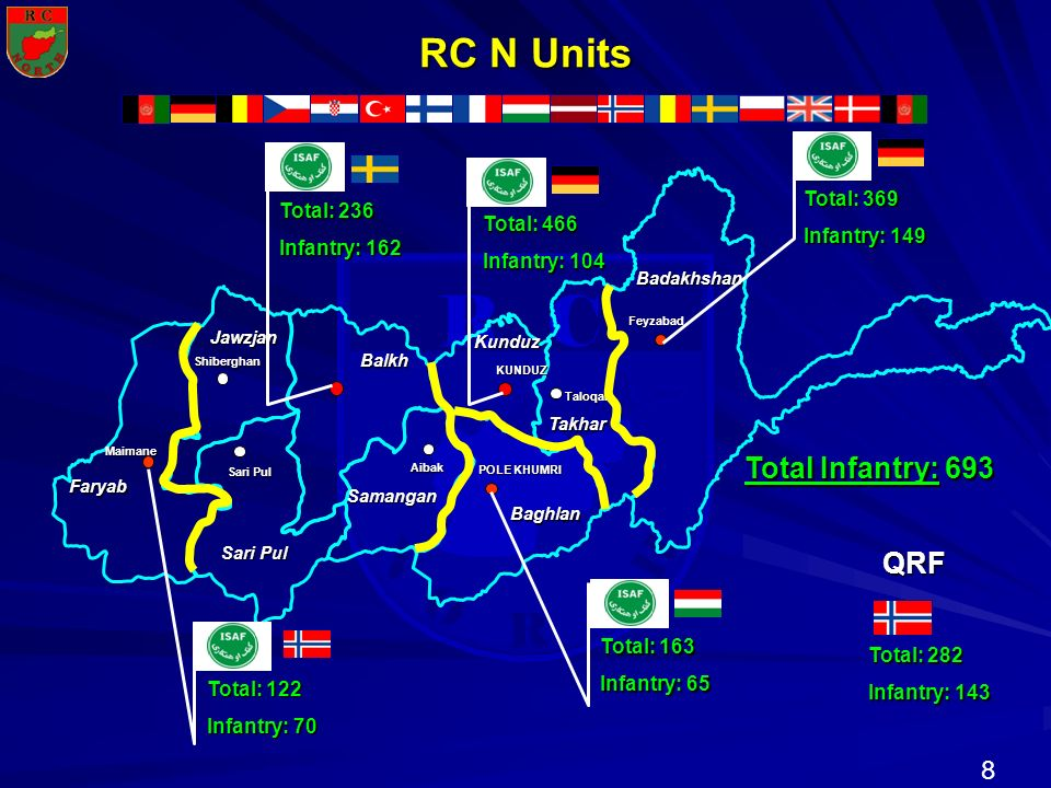 RC N Units Total Infantry: 693 QRF Total: 369 Infantry: 149 Total: 236