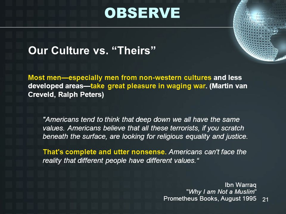 OBSERVE Our Culture vs. Theirs