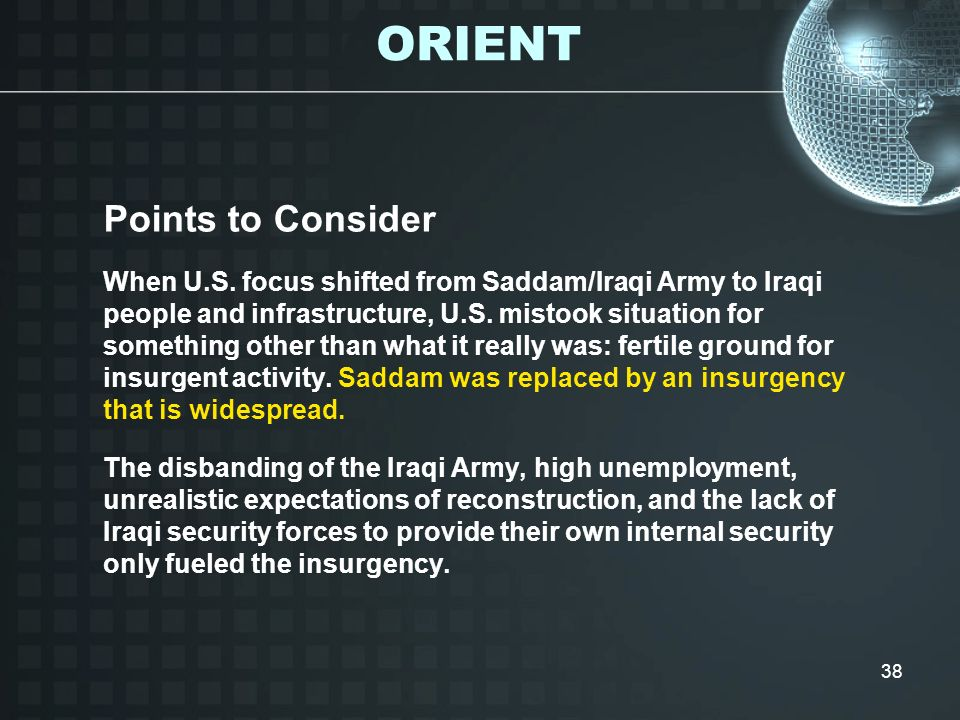ORIENT Points to Consider