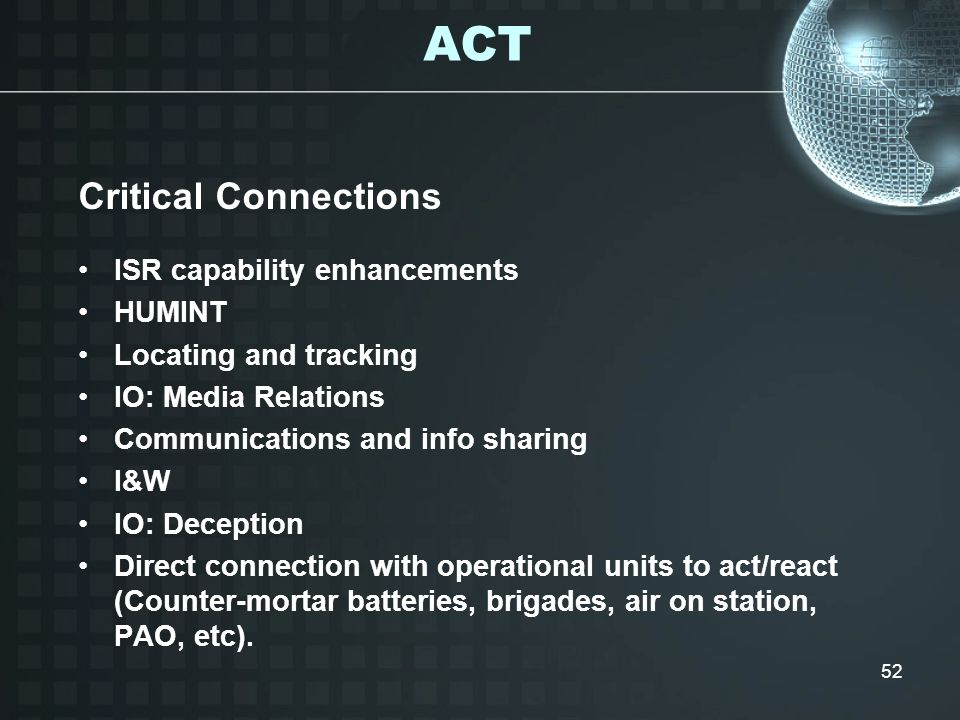 ACT Critical Connections ISR capability enhancements HUMINT