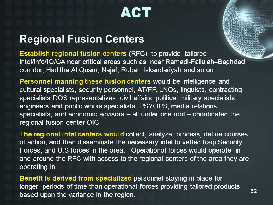 ACT Regional Fusion Centers