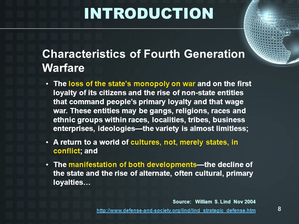 INTRODUCTION Characteristics of Fourth Generation Warfare