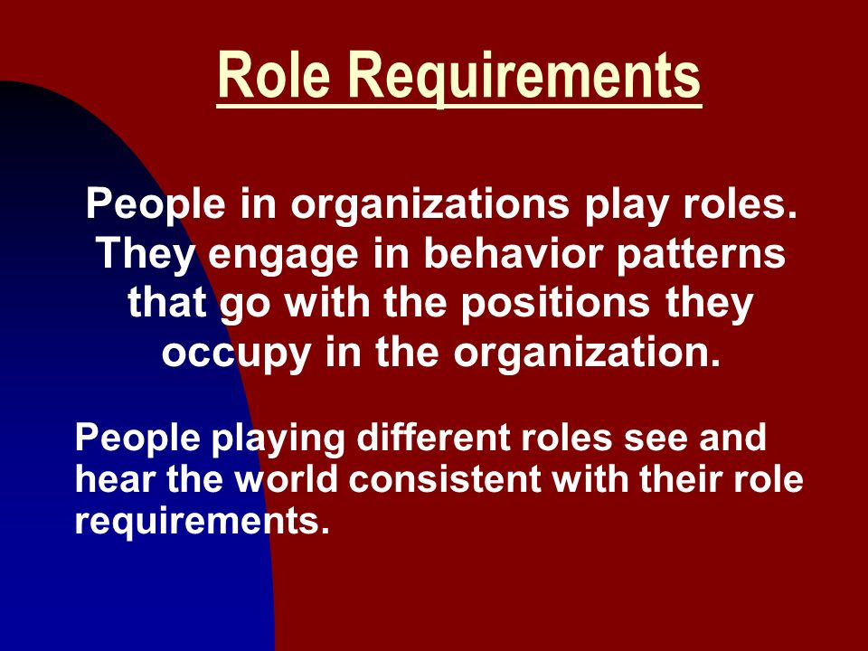 Role Requirements People in organizations play roles. They engage in behavior patterns that go with the positions they occupy in the organization.
