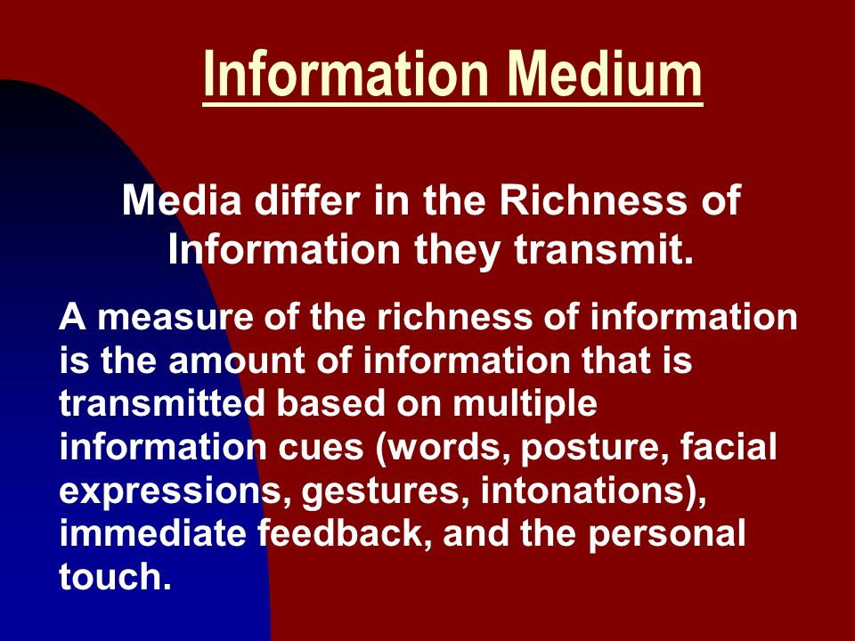 Media differ in the Richness of Information they transmit.
