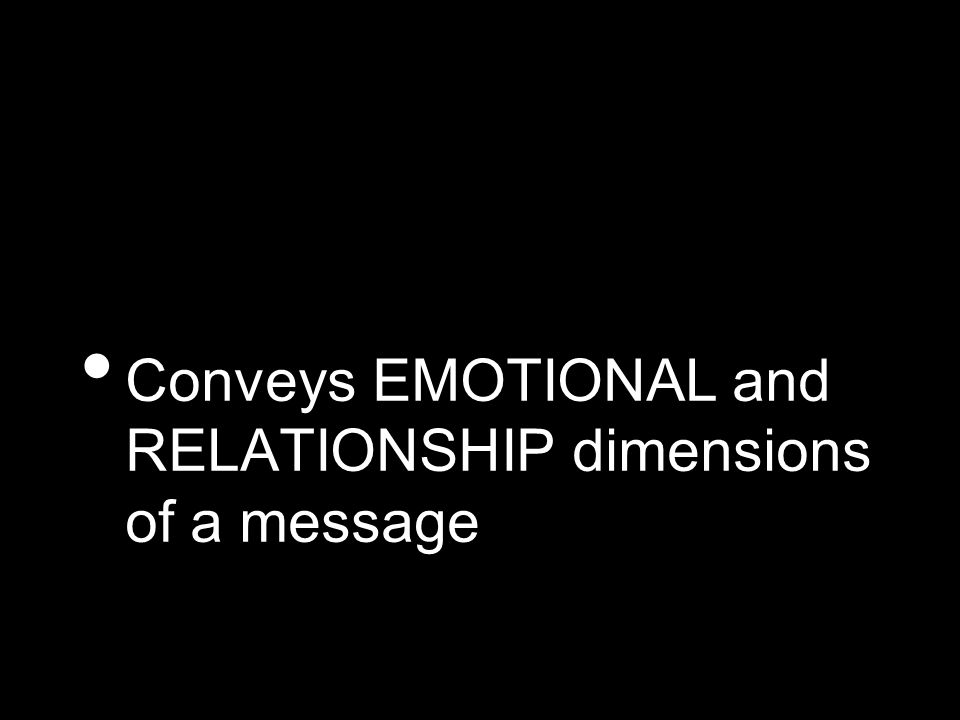 Conveys EMOTIONAL and RELATIONSHIP dimensions of a message