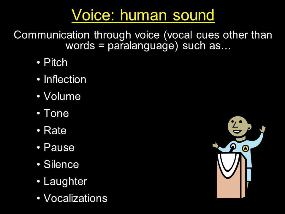 Voice: human sound Communication through voice (vocal cues other than words = paralanguage) such as…