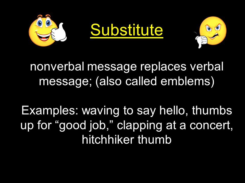 nonverbal message replaces verbal message; (also called emblems)