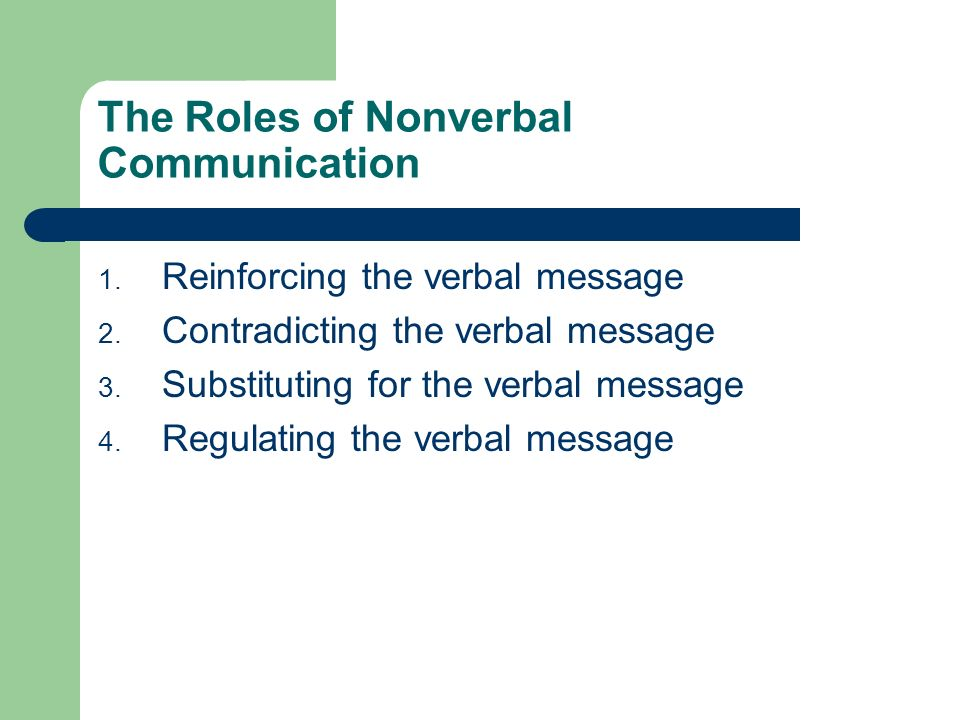 The Roles of Nonverbal Communication