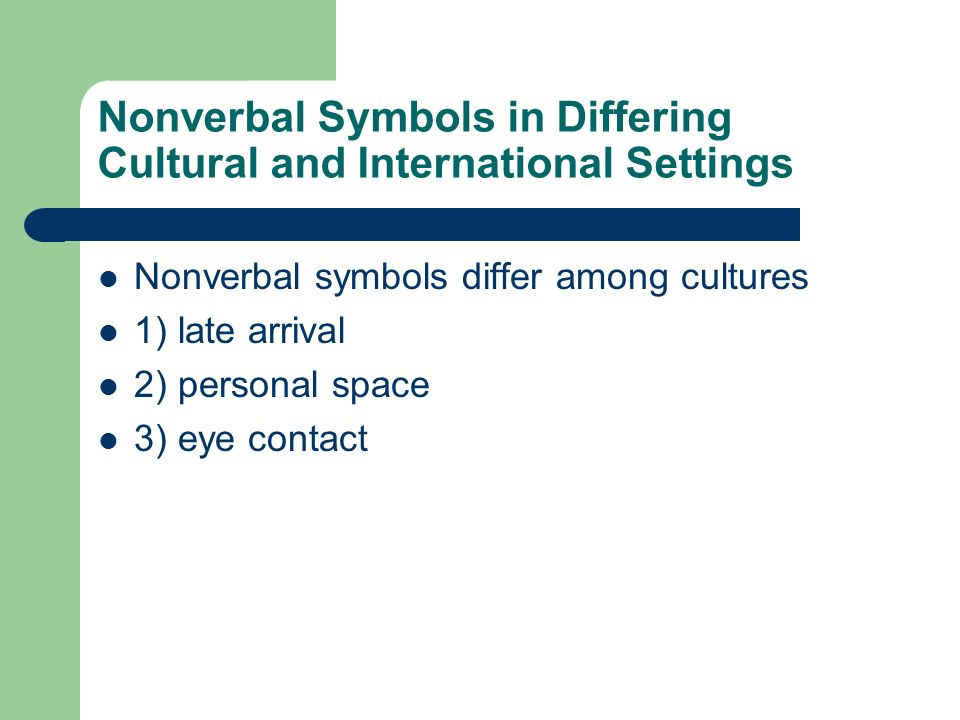 Nonverbal Symbols in Differing Cultural and International Settings