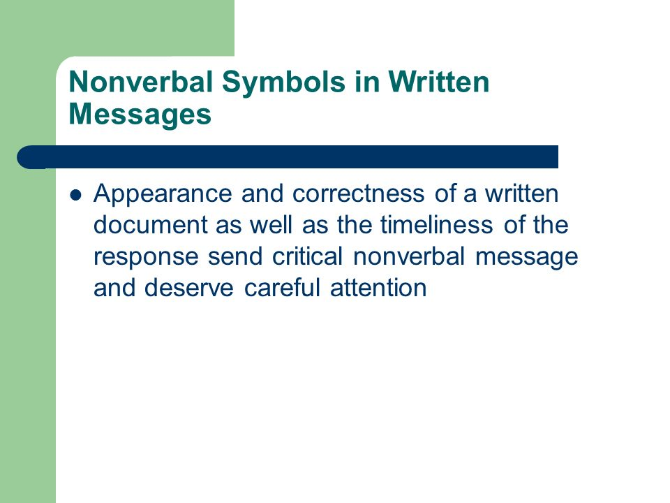 Nonverbal Symbols in Written Messages