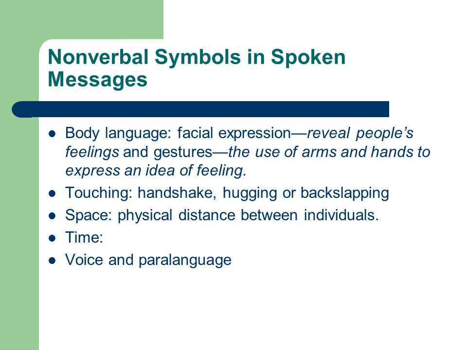 Nonverbal Symbols in Spoken Messages