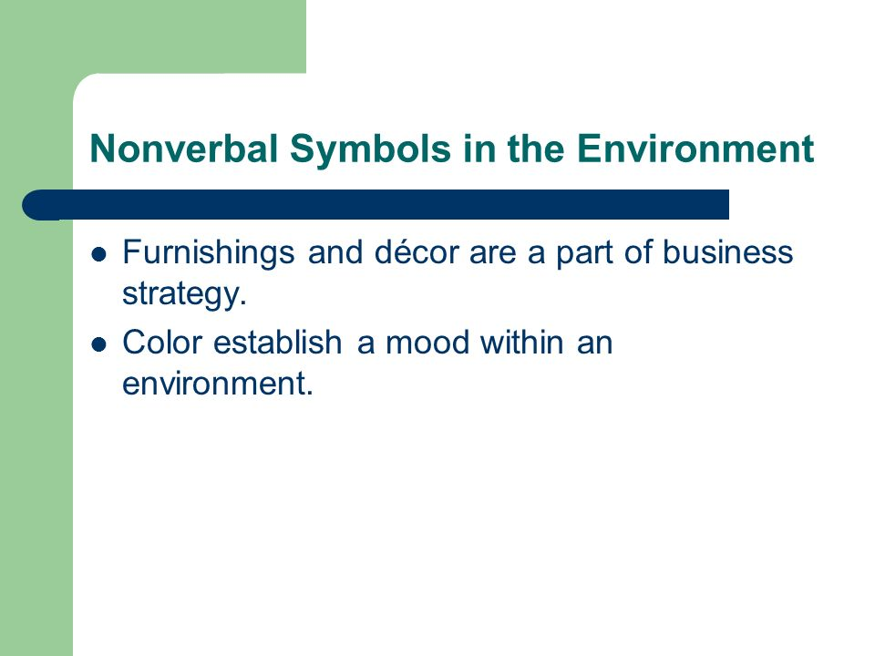 Nonverbal Symbols in the Environment