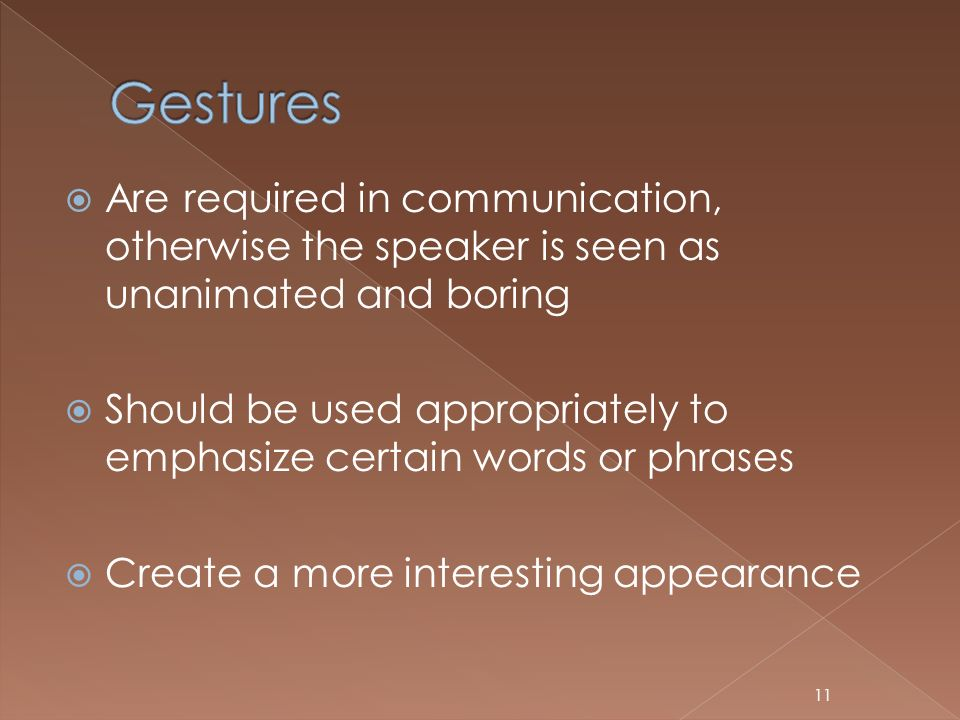 Gestures Are required in communication, otherwise the speaker is seen as unanimated and boring.