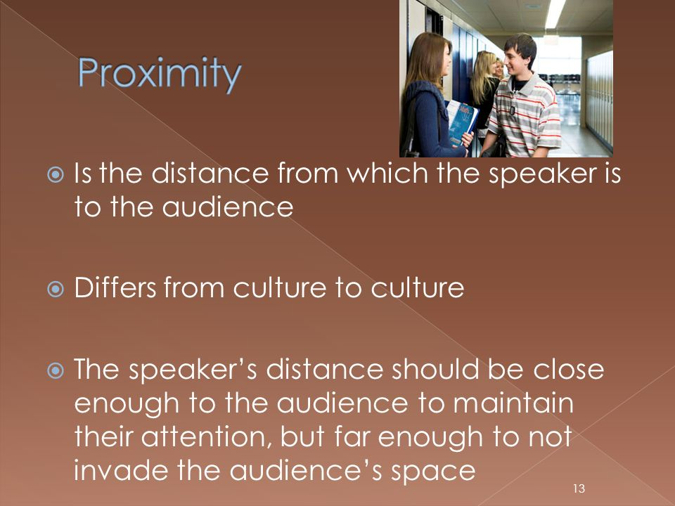 Proximity Is the distance from which the speaker is to the audience