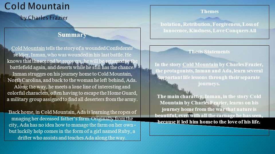 thesis statement for cold mountain