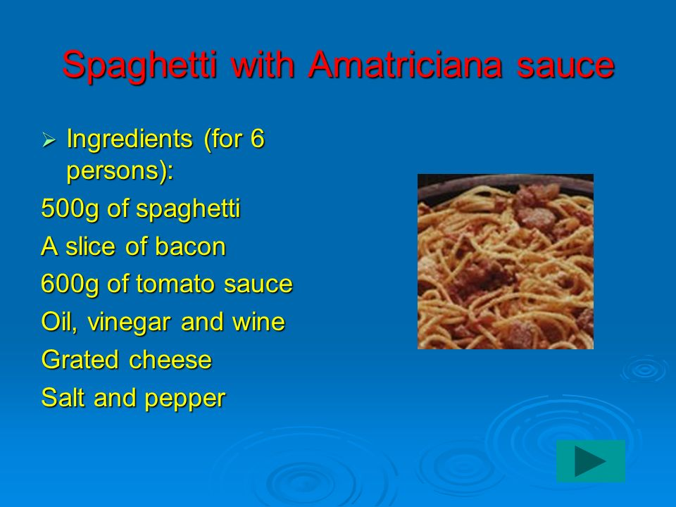 Spaghetti with Amatriciana sauce