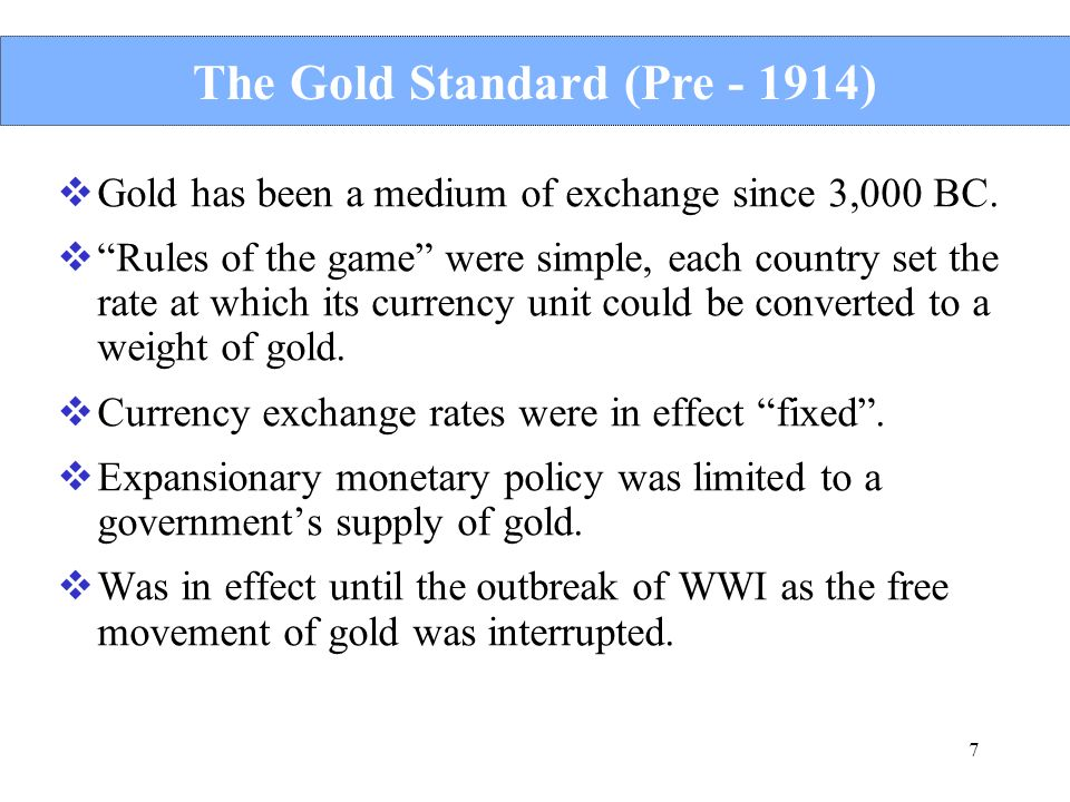 The Gold Standard (Pre )