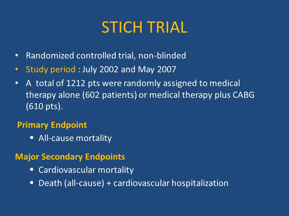 STICH TRIAL Randomized controlled trial, non-blinded